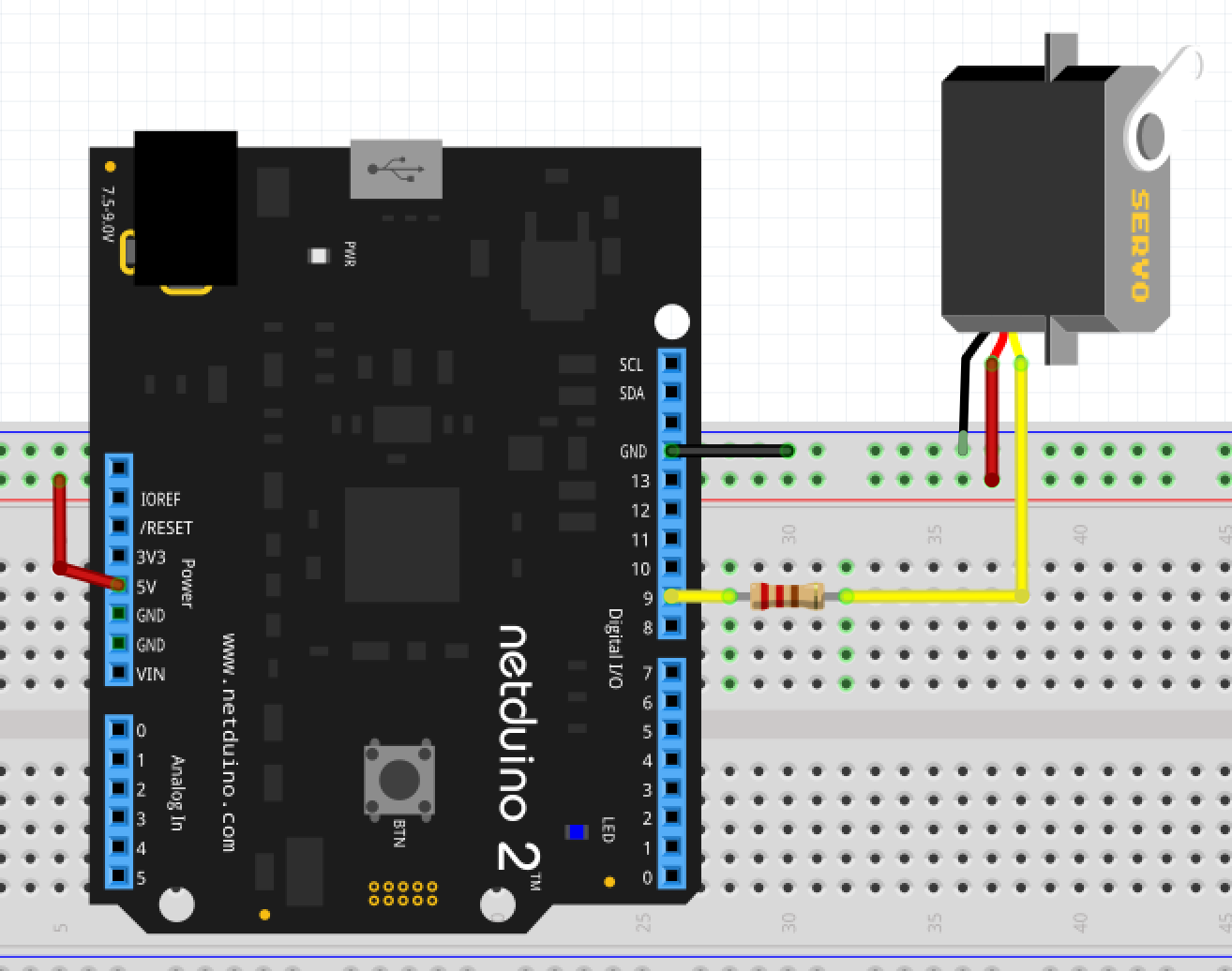 Servo Connected to Netduino